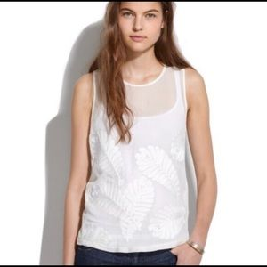 Madewell Embroidered leaf silk tank size Xs